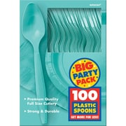 Amscan Big Party Pack Mid Weight Spoon, Robins Egg Blue, 3/Pack, 100 Per Pack (43601.121)