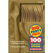 Amscan Big Party Pack Mid Weight Spoon, Gold, 3/Pack, 100 Per Pack (43601.19)