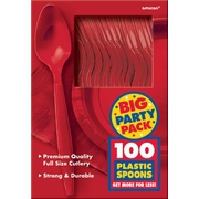 Amscan Big Party Pack Mid-Weight Spoon, Red, 3/Pack, 100 Per Pack (43601.4)