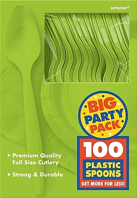 Amscan Big Party Pack Mid Weight Spoon, Kiwi, 3/Pack, 100 Per Pack (43601.53)