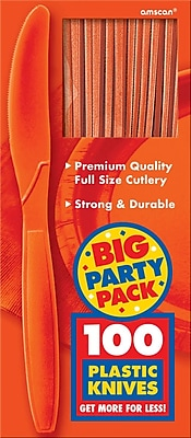 Amscan Big Party Pack Mid Weight Knife, Orange, 3/Pack, 100 Per Pack (43603.05)