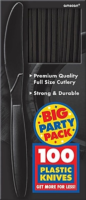 Amscan Big Party Pack Mid-Weight Knife, Black, 3/Pack, 100 Per Pack (43603.1)