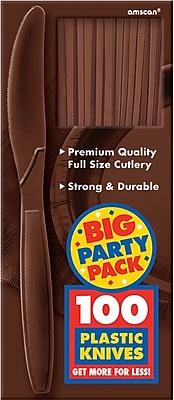 Amscan Big Party Pack Mid-Weight Knife, Brown, 3/Pack, 100 Per Pack (43603.111)