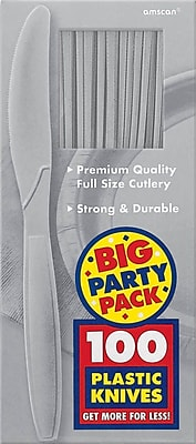 Amscan Big Party Pack Mid Weight Knife, Silver, 3/Pack, 100 Per Pack (43603.18)