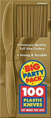 Amscan Big Party Pack Mid Weight Knife, Gold, 3/Pack, 100 Per Pack (43603.19)
