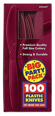 Amscan Big Party Pack Berry Mid-Weight Knife, 3/Pack, 100 Per Pack (43603.27)