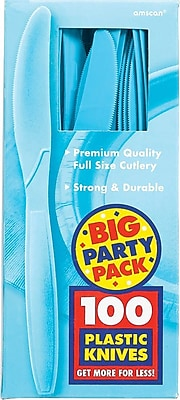Amscan Big Party Pack Mid Weight Knife, Caribbean Blue, 3/Pack, 100 Per Pack (43603.54)