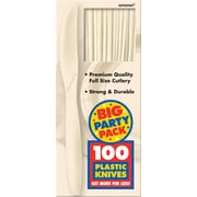 Amscan Big Party Pack Mid Weight Knife, Vanilla, 3/Pack, 100 Per Pack (43603.57)