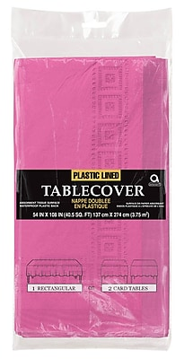 Amscan Paper Tablecover, 3-Ply, Bright Pink, 9/Pack (57115.103)