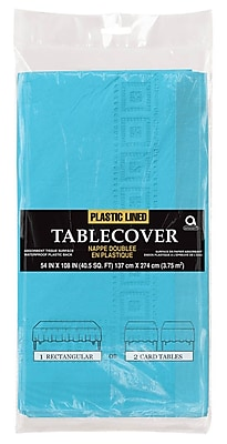 Amscan Paper Tablecover, 3-Ply, Caribbean Blue, 9/Pack (57115.54)