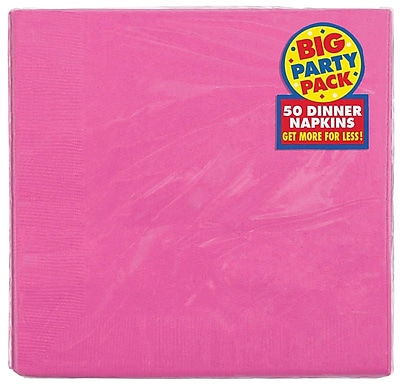 Amscan Big Party Pack Dinner Napkin, 2-Ply, Bright Pink, 6/Pack, 50 Per Pack (62215.103)