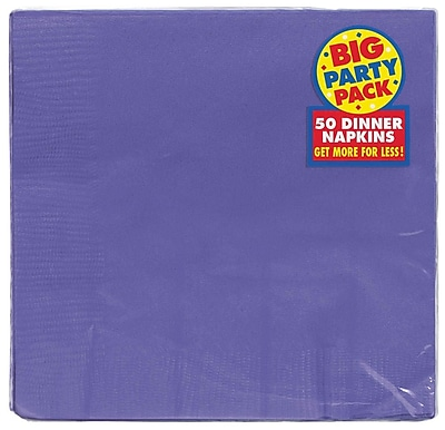 Amscan Big Party Pack Dinner Napkin, 2-Ply, Purple, 6/Pack, 50 Per Pack (62215.106)
