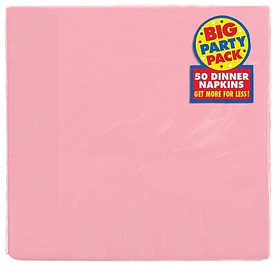 Amscan Big Party Pack Dinner Napkin, 2-Ply, Pink, 6/Pack, 50 Per Pack (62215.109)