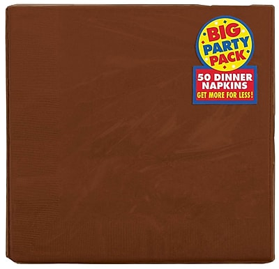 Amscan Big Party Pack Dinner Napkin, 2-Ply, Chocolate Brown, 6/Pack, 50 Per Pack (62215.111)