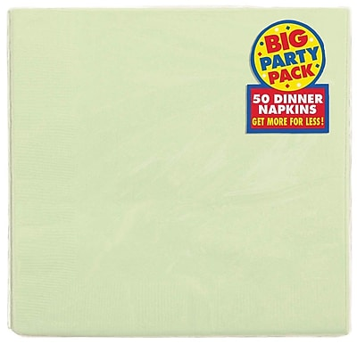 Amscan Big Party Pack Dinner Napkin, 2-Ply, Leaf Green, 6/Pack, 50 Per Pack (62215.115)