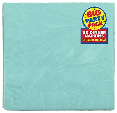 Amscan Big Party Pack Dinner Napkin, 2-Ply, Robins Egg Blue, 6/Pack, 50 Per Pack (62215.121) 1970559