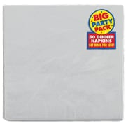 Amscan Big Party Pack Dinner Napkin, 2-Ply, Silver, 6/Pack, 50 Per Pack (62215.18)