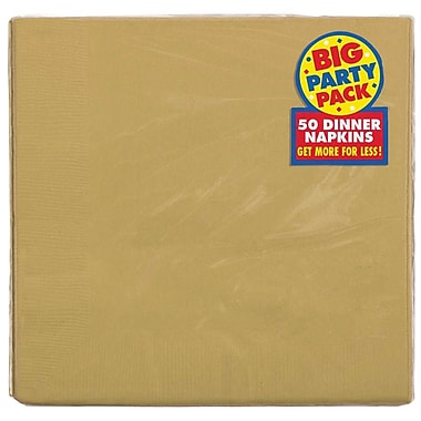 Amscan Big Party Pack Dinner Napkin, 2-Ply, Gold, 6/Pack, 50 Per Pack (62215.19)