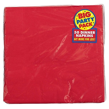 Amscan Big Party Pack Dinner Napkin, 2-Ply, Apple Red, 6/Pack, 50 Per Pack (62215.40)