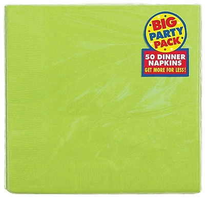 Amscan Big Party Pack 2-Ply Dinner Napkin, Kiwi, 6/Pack, 50 Per Pack (62215.53)