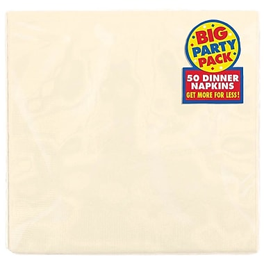 Amscan Big Party Pack Dinner Napkin, 2-Ply, Vanilla Creme, 6/Pack, 50 Per Pack (62215.57)