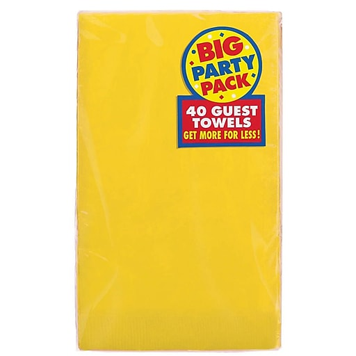 f43e22dede Amscan Big Party Pack Guest Towel, 2-Ply, Yellow Sunshine, 6/Pack ...