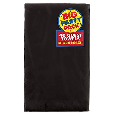 Amscan Big Party Pack Guest Towel, 2-Ply, Jet Black, 6/Pack, 40 Per Pack (63215.10)