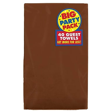 Amscan Big Party Pack Guest Towel, 2-Ply, Chocolate Brown, 6/Pack, 40 Per Pack (63215.111)
