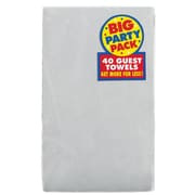 Amscan Big Party Pack 2-Ply Guest Towel, Silver, 6/Pack, 40 Per Pack (63215.18)
