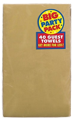 Amscan Big Party Pack Guest Towel, 2-Ply, Gold, 6/Pack, 40 Per Pack (63215.19)