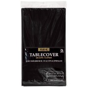 "Amscan Plastic Tablecover, 54""W x 108""L, Black, 12/Pack (77015.1)"