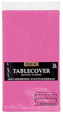"""Amscan 54"""" x 108"""" Bright Pink Plastic Tablecover, 12/Pack (77015.103)"""