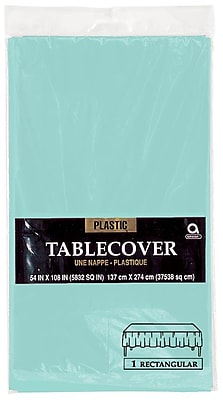 """""Amscan 54"""""""" x 108"""""""" Robins Egg Blue Plastic Tablecover, 12/Pack (77015.121)"""""" 1970110"
