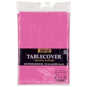 """Amscan 84"""" Bright Pink Plastic Round Tablecover, 9/Pack (77018.103)"""