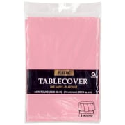 """Amscan 84"""" Pink Plastic Round Tablecover, 9/Pack (77018.109)"""