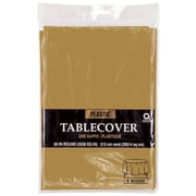 "Amscan Plastic Table Cover, 84"" Round, Gold, 9/Pack (77018.19)"