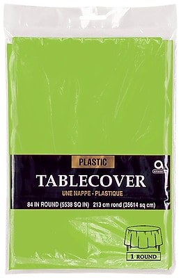 """Amscan Plastic Round Tablecover, 84"""", Kiwi, 9/Pack (77018.53)"""