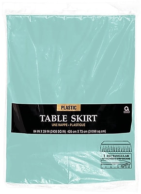 """""Amscan 14' x 29"""""""" Robins Egg Blue Plastic Tableskirt, 4/Pack (77025.121)"""""" 1970194"