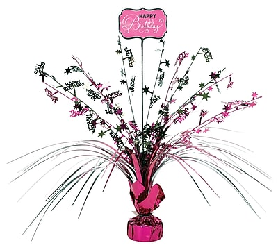 Amscan Black and Pink Spray Centerpiece, 18'', 4/Pack (110270)