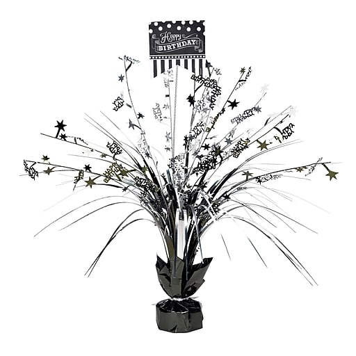 """Amscan Black and White Spray Centerpiece, 18"""", 4/Pack (110271)"""