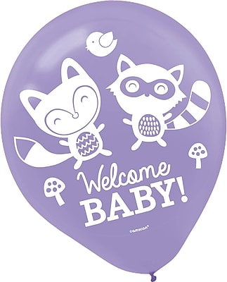 Amscan Woodland Welcome Baby Shower Latex Balloons;