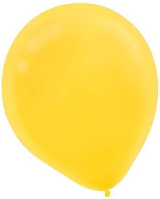 Amscan Solid Color Latx Balloons Packaged, 12'', Yellow Sunshine, 4/Pack, 72 Per Pack (113250.09)