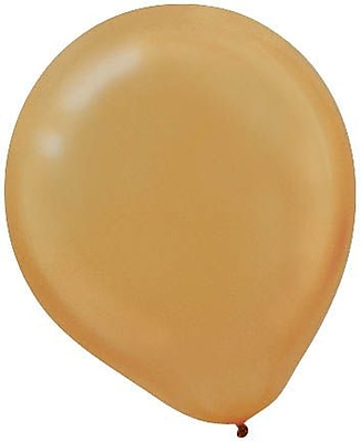 Amscan Pearlized Latex Balloons Packaged, 12'', 3/Pack, Gold, 72 Per Pack (113251.19)