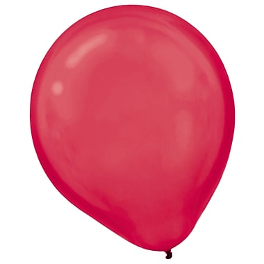Amscan Pearlized Latex Balloons Packaged, 12'', 3/Pack, Apple Red, 72 Per Pack (113251.4)