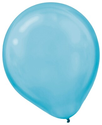 Amscan Pearlized Latex Balloons Packaged, 12'', 3/Pack, Caribbean Blue, 72 Per Pack (113251.54)