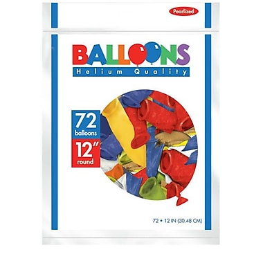 Amscan Pearlized Latex Balloons Packaged, 12'', 3/Pack, Assorted, 72 Per Pack (113251.99)