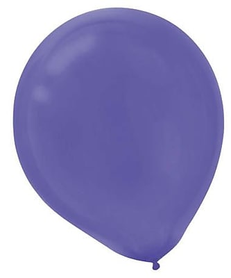 Amscan Solid Color Latex Balloons Packaged, 12'', 18/Pack, New Purple, 15 Per Pack (113252.106)