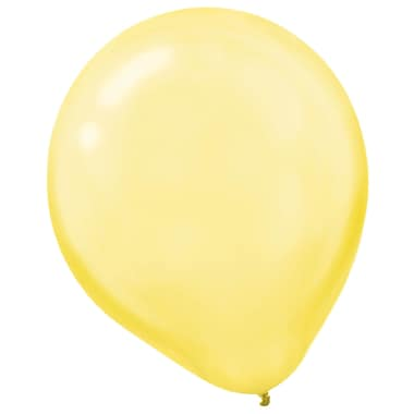 Amscan Pearlized Latex Balloons Packaged, 12'', 16/Pack, Yellow Sunshine, 15 Per Pack (113253.09)
