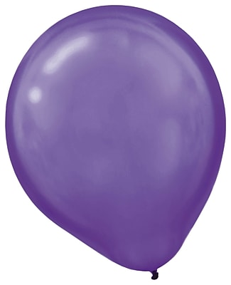 Amscan Pearlized Latex Balloons Packaged, 12'', 16/Pack, New Purple, 15 Per Pack (113253.106)
