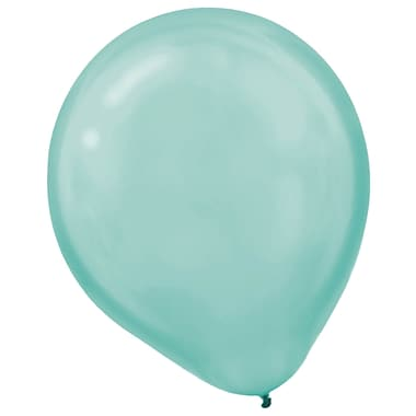 Amscan Pearlized Latex Balloons Packaged, 12'', 16/Pack, Robin's Egg Blue, 15 Per Pack (113253.121)